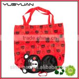 2016 Japanese mascot new style custom reusable waterproof polyester cartoon folding kumamon bear shopping bag