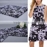 75D White and Black Classic Printing Polyester Lycra Fabric for dress
