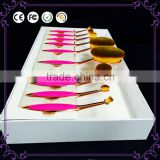 10pcs rose gold toothbrush mermaid oval makeup brush set with paper box