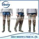 foldable camo semi transparent pvc thigh high boots with soft outsole used as durable rice farming planting working boots