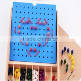 Kingdergarten wooden education toy Froebel Jun Gabe2 teaching AIDS early learning tool colorful beads