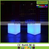 Event decoration supplies led bar cube chairs illuminated cube stool plastic pe led cube seating