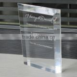 Custom free standing small rectangle horizontal memorial award plaque acrylic plaques