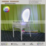 warm white led bar chair, padded stackable luminous acrylic chairs