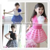 2015 summer girls dress girls cute princess stripe dress 3D flower boutique party costume children clothes dress for girl