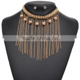 Fashion new design black lace with champagne color pearls pendant chain tassel choker necklaces