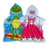 Colorful printed cape-style hooded towel poncho pattern and custom kids hooded poncho terry towel