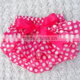 2014 Brightly painted Hot Pink Polka Dot Satin baby's Bloomer Lovely Girls Diaper cover with Bowknot kids petti Bow bloomer