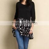 Hot Sale Women Blouse With Black Butterfly Color Block Tunic Women Tops Women Clothes GD90426-26