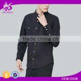 2017 Guangzhou Shandao Autumn New Arrivals Men Casual Black Long Sleeve Wiith Two Pocket Button Up Cotton Casual Shirt