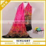 high quality hoot design printed polyester voile material ladies scarf