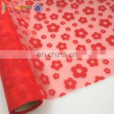 Party decoration flower wrapping Flocked organza fabric