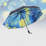 Creative Van Gogh Starry Sky Three Folding Vinyl Sun Umbrella