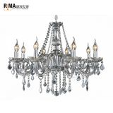 2018 Hot Sale Grey Glass Crystal Chandeliers for Home and Hotel Indoor Lighting