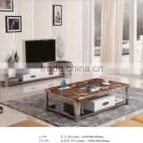 Marble top coffee stainless steel legs coffee end table with drawer
