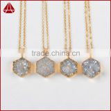 Fashion Titanium White Drusy Druzy Agate Hexagon Pendants With 18K Gold Plated Quartz Jewelry Beads