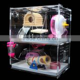 Transparent acrylic hamster rats kittens playhouse cat houses condos cage villa swing seesaw wooden toys                                                                         Quality Choice