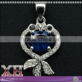 Custom Design Jewelry 925 Sterling Silver Blue Spphire Fish Pendant