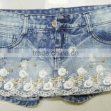 2016 women's jeans beaded denim short hot pants lace knitted denim fabric denim jeans wholesale