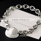 Wholesale stainless steel silver charm bracelet dog tag Bracelet with Lobster clasp 9312