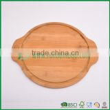 Round cheese serving board in bamboo