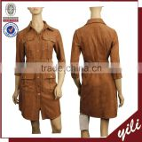 2016 A/W China manufacturer faux suede fabric ladies dress and matching coat dress suits