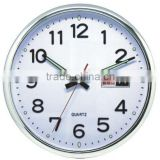 plastic decorative wall mounted clock, round clock with day display