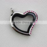 30mm Stainless Steel Silver Pink Rhinestone Magnetic Oblique Heart Floating Locket Key Chain Keychain