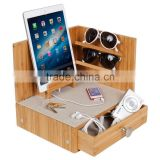 Home Desk Organiser Made of Natural Bamboo storage Corner Multi-Device Charging station Sunglass Station with Drawer