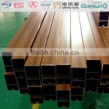 Fireproof A2 grade pvc veneer coated Aluminum square tube for suspended ceiling/wooden aluminium profile for curtain wall