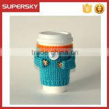 V-166 NBA cute coffe hand knitted sleeve cosy cup mug sweater/coffee sweater/cup accessory