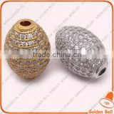 BJ4523 Shiny micro pave CZ zircon beads, diamond pave loose beads for jewelry making