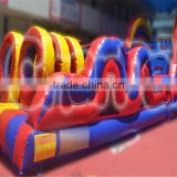 Factory price cheap inflatable obstacle course for sale, rainbow color jumping slide obstacle for children