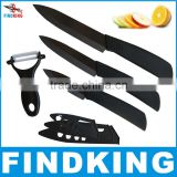 "Top quality Gifts Zirconia black blade black handle 3"" 4"" 5"" inch + Peeler + covers ceramic knife set kitchen fruit knife set"