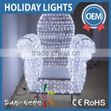 Fany white crystal chair decoration holiday time lights with high quality led light chair