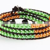 hand made weave bead bracelet bangle yellow green glass pearl leather wrap bracelet women jewelry fashion wholesale