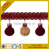 Tassel fringe rayon material crystal bead pompom fringe decorative trim for curtain                                                                         Quality Choice