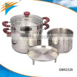5 Pcs Multifunction Kitchenware Set With Rack and Glass Lid Stainless Steel Steamer