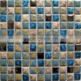 Square crackle ceramic mix crystal glass mosaic kitchen backsplash bathroom tile