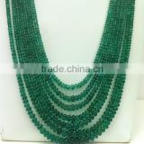 #AZZZ Natural Plain Roundel Loose Gemstone Emerald Beads Necklace