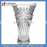 LongRun bohemia crystal star carved flower glass vase for wedding decoration