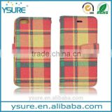 Plaid Pattern Fabric Leather Phone Case For Alcatel One Touch POP C7 with PVC ID and credit card slots