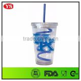 Personalized clear wholesale acrylic tumbler with straw 16 oz