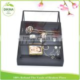 glass tealight holder packaging metall thin case with Lid, Vintage Shabby clear picture frames for silver gold black box