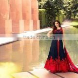 Dazzling Navy Blue Art Silk Lehenga Style Suit/shop online Anarkali Suit