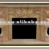 Beige Marble fireplace Surround freestanding white electric fireplace wall mounted