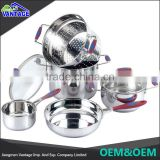 Stainless steel cooking ware kitchenware outdoor cooking set with glass lid
