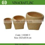 Natural 2 tie bamboo weave basket