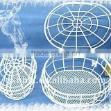 Oval white wire storage hamper with lid set of two