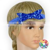 Royal Blue Shiny Sequin Bow Headbands For Baby Girls